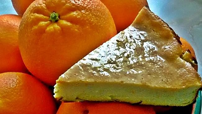 Tarta ligera de queso y naranja