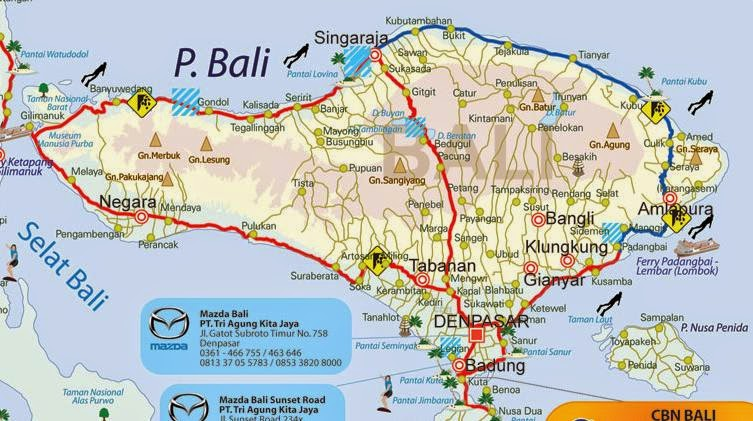 Peta Jalur Mudik Lebaran Pulau Bali 2017