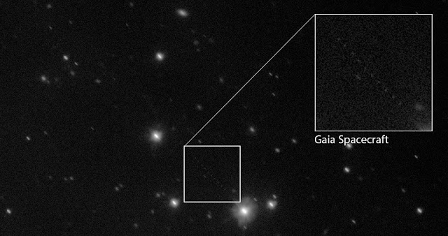 This image, a composite of several observations captured by ESO's VLT Survey Telescope (VST), shows the space observatory Gaia as a faint trail of dots across the lower half of the star-filled field of view. These observations were taken as part of an ongoing collaborative effort to measure Gaia's orbit and improve the accuracy of its unprecedented star map.  The position of Gaia is shown in this annotated image.  Credit: ESO