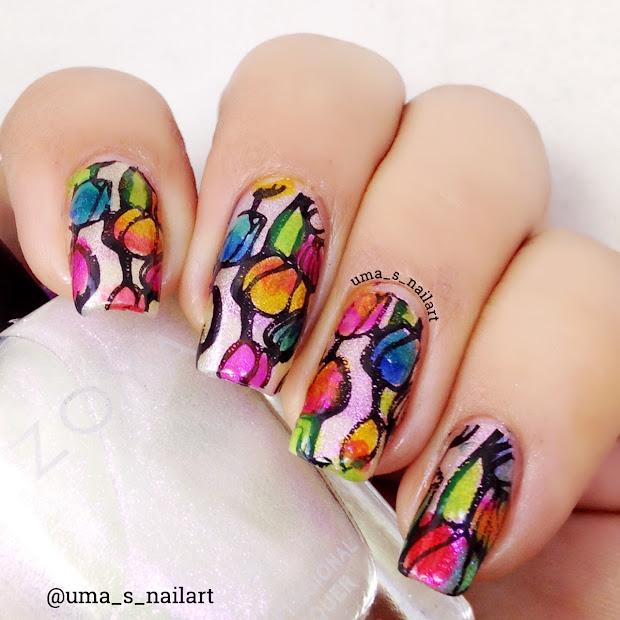 tulip flowers nail art