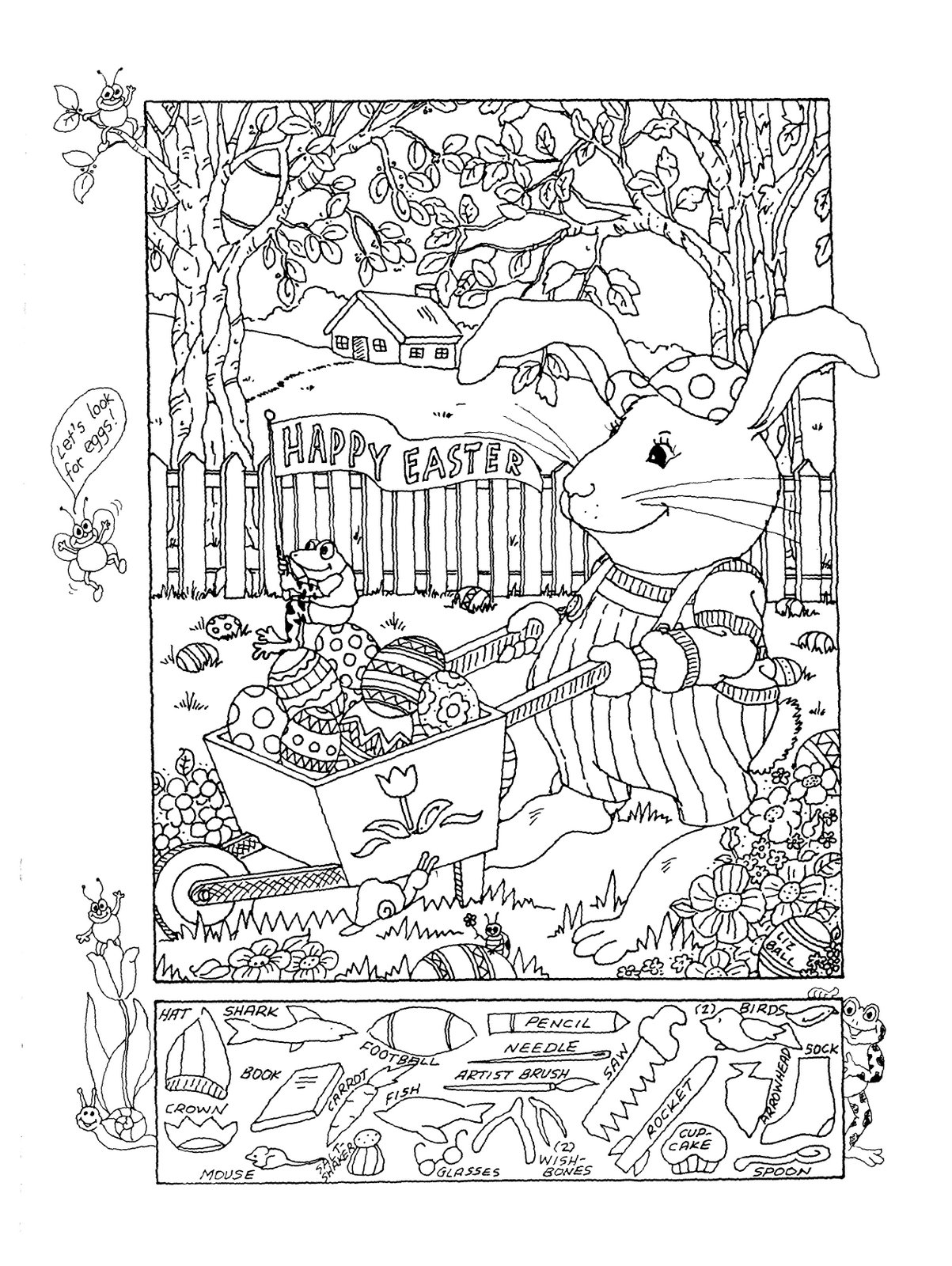 Free coloring pages of easter hidden objects