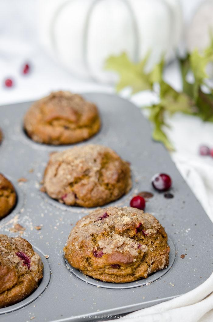 Baking Pumpkin Spice Cranberry Muffins