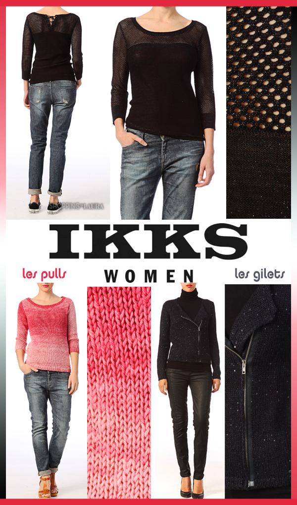 Pull coton maille ajourée noire ou dégradé rose et gilet pailleté noir IKKS