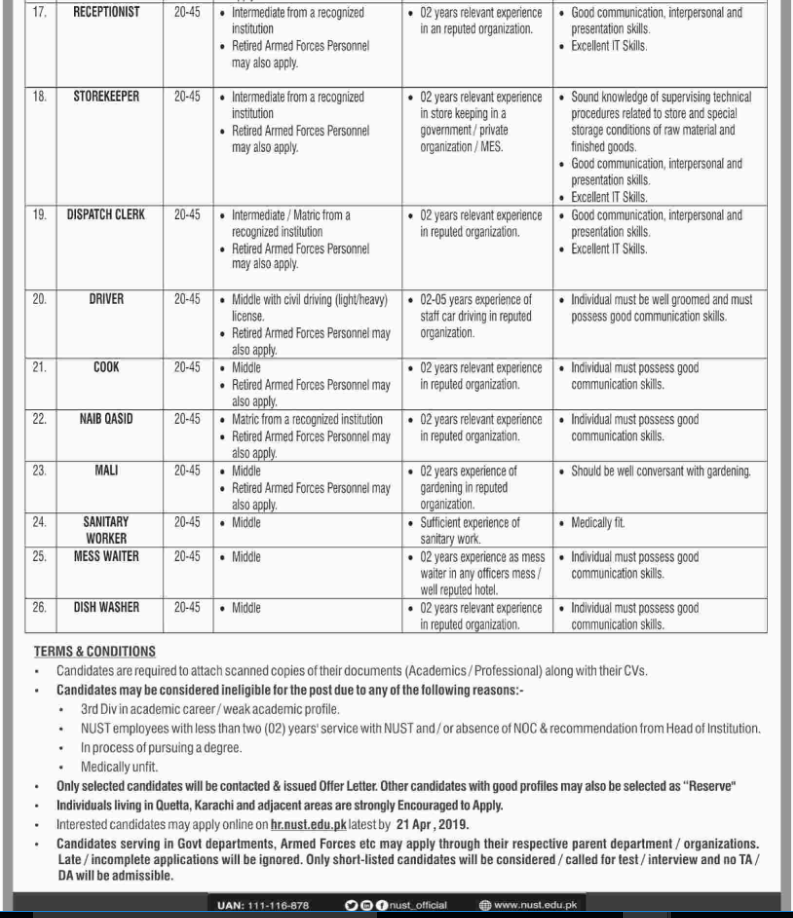 Advertisement for National University of Sciences and Technology (NUST) Jobs 2019