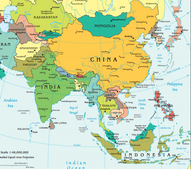 Map Of Asia Yellow Sea.Early World History Asia Map Quiz
