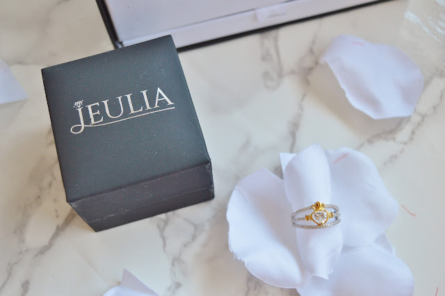 Jeulia Two Tone Claddagh Heart Cut Created White Sapphire Engagement Ring