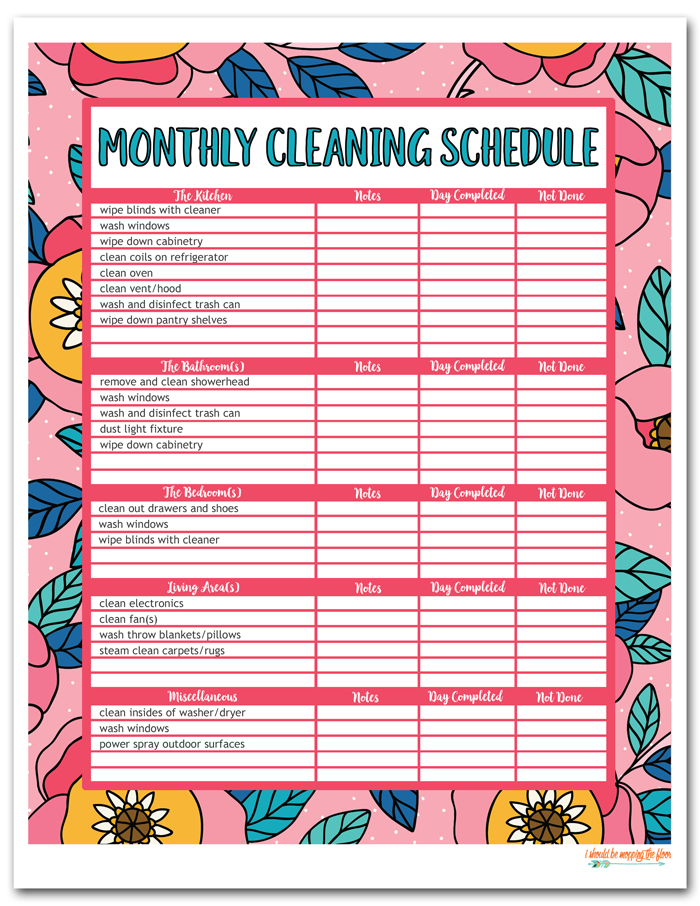 Colorful Monthly Cleaning Schedule