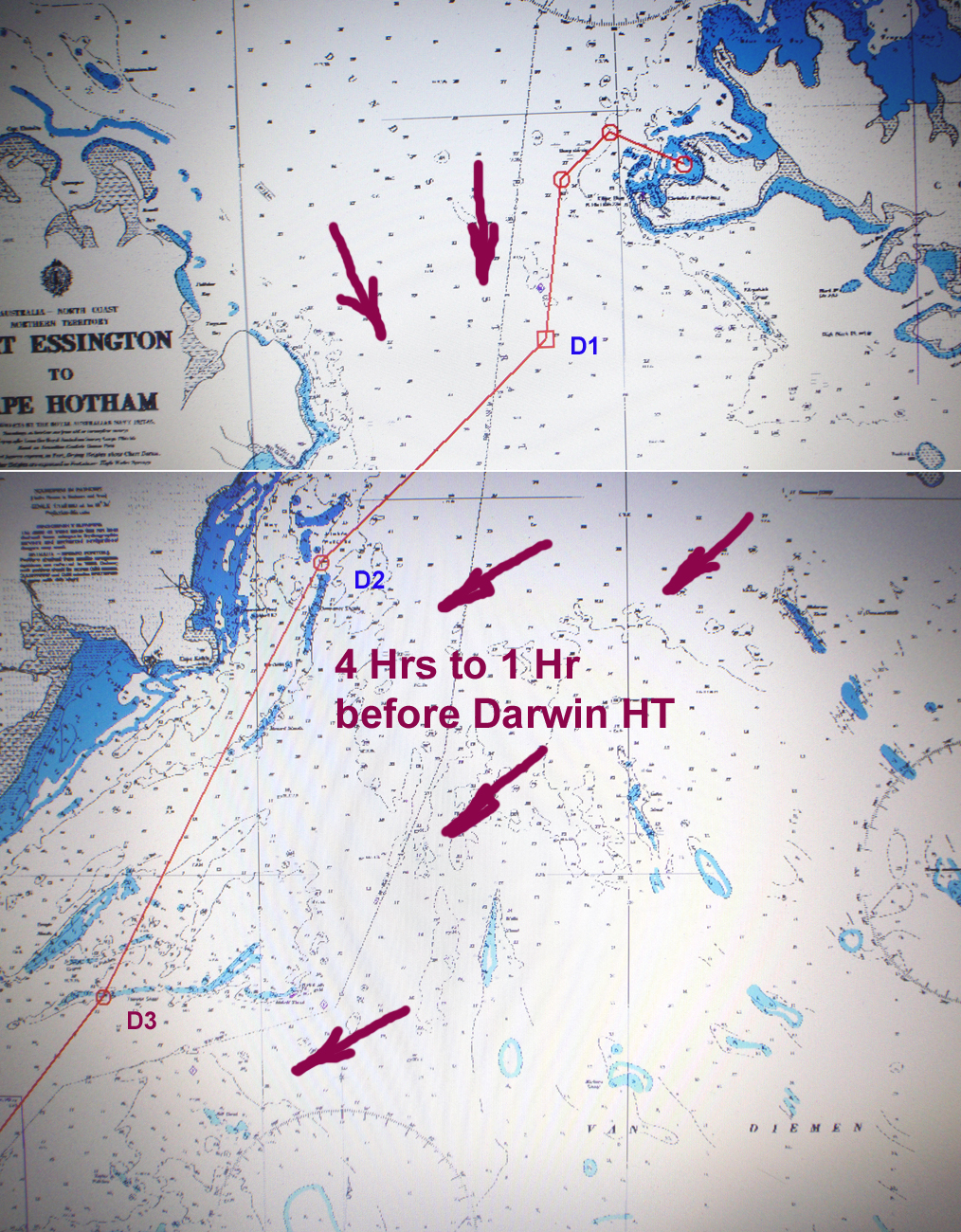 Sailing aussie coast port essington to darwin chart showing track we took to save time waypoints below arrows show the tidal flow through the times of 4 hours through to 1 hour before darwin high tide nvjuhfo Images