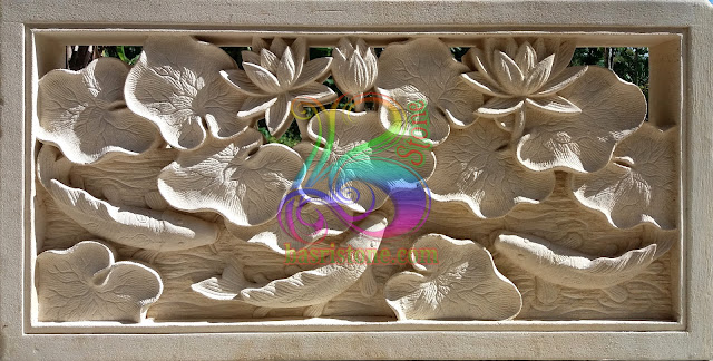 Roster Batu alam motif lotus dan ikan koi