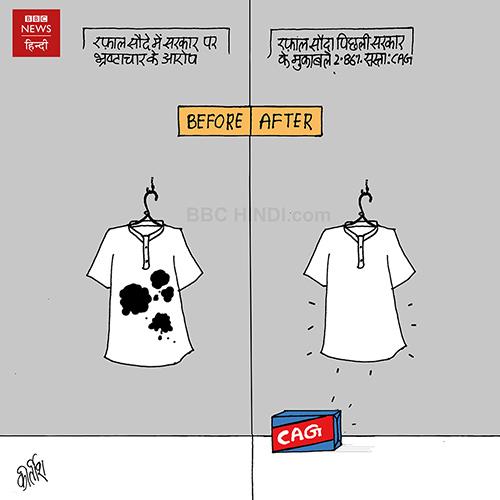 cartoons on politics, indian political cartoon, indian political cartoonist, cartoonist kirtish bhatt, rafale deal cartoon, bjp cartoon, narendra modi cartoon