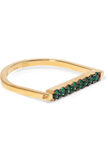 Iam by Ileana Makri - Gold-plated cubic zirconia ring - Green is the big deal this year in 2017 so grabbing a fabulous piece for £52.00 at 60% off would be a great purchase. This ring is made of gold vermeil and the bar rotates so so can rotate the bar around so you can choose between the green zircons or to have the smooth side showing up instead for a more minimalist look.