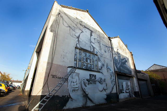 Street Art Collaboration By Phlegm And Run For Empty Walls Urban Art Festival 2013 In Cardiff, Wales. 2