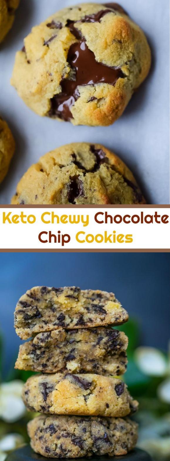 KETO CHEWY CHOCOLATE CHIP COOKIES #keto #dessert
