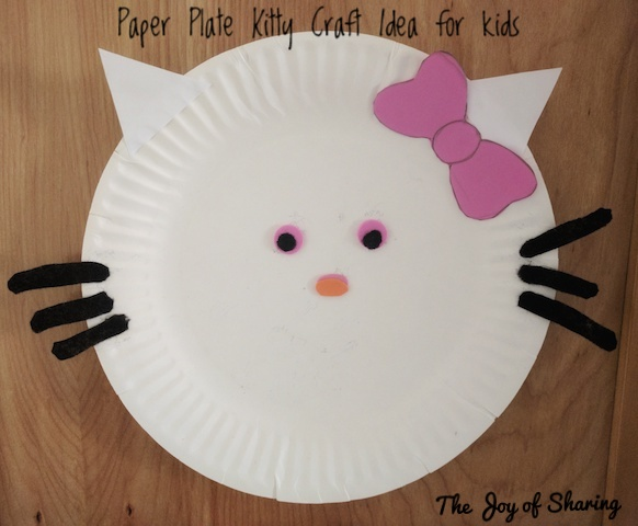 Kitty made using a paper plate pink/white/orange/black paper glue and preschool scissor & The Joy of Sharing: Easy Paper Plate Animal Craft Ideas For Toddlers