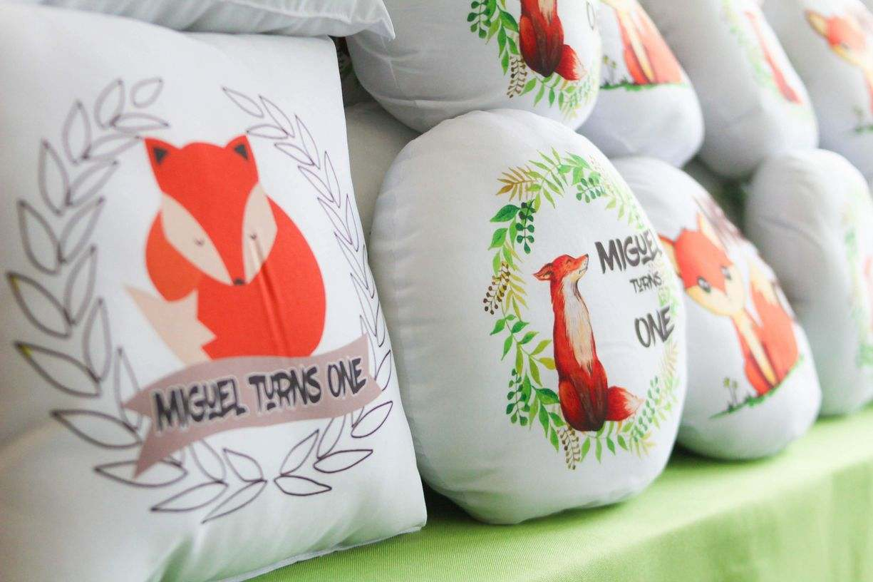 Woodland theme pillow giveaways