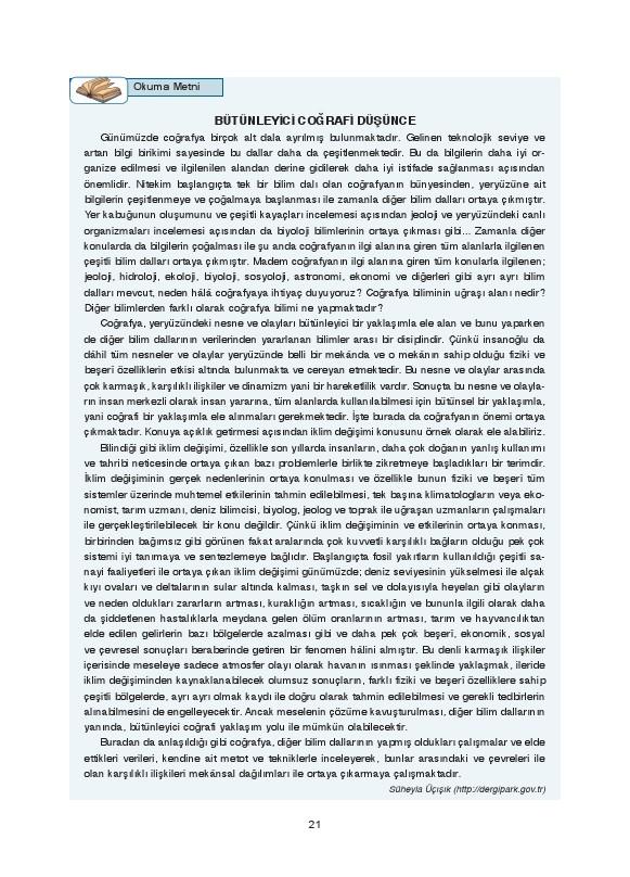 9. Sınıf Coğrafya Ders Kitabı Cevapları Fersa Yayınları Sayfa 21