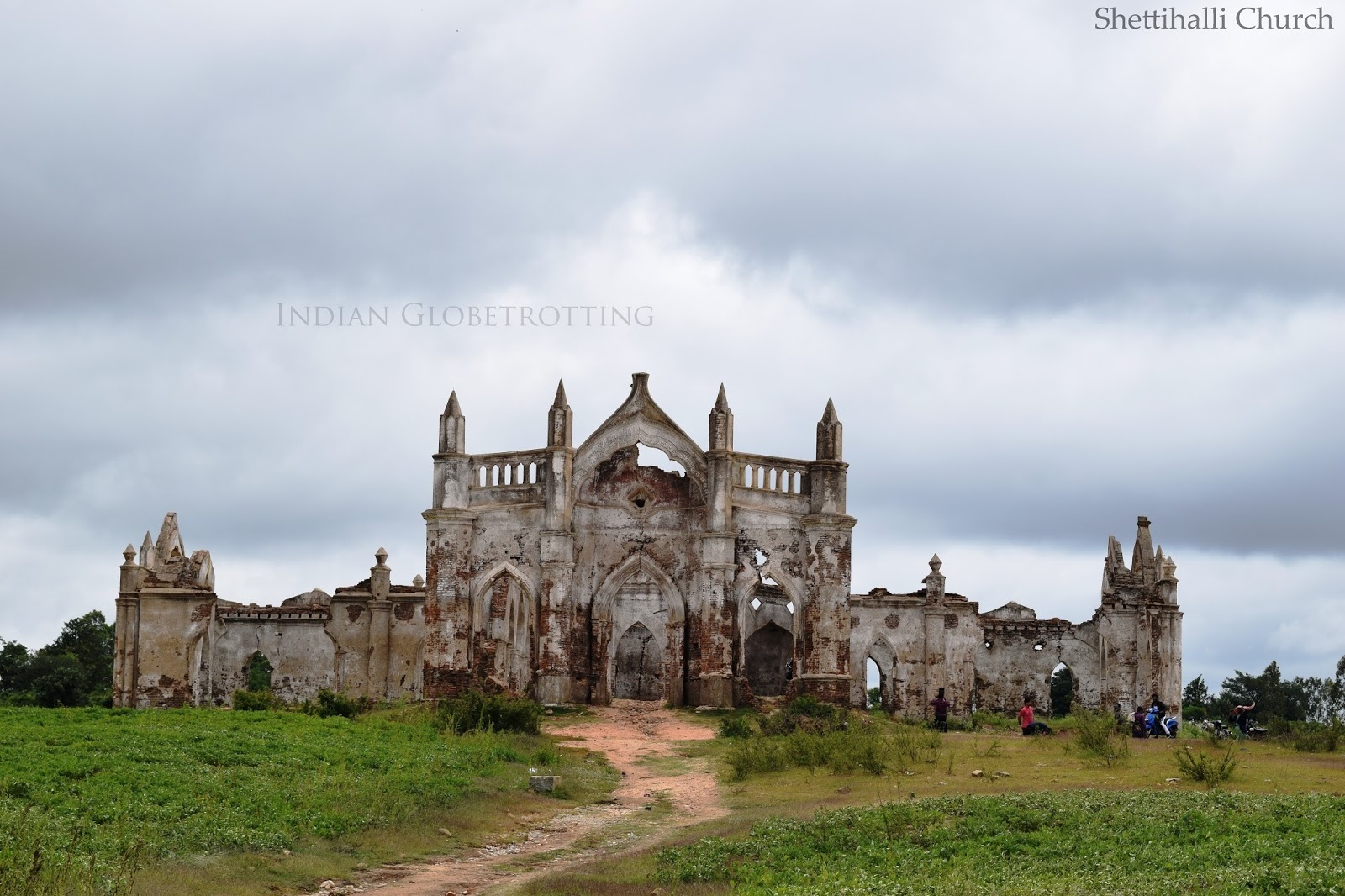 long view of shettihalli church from hemavathi reservoir