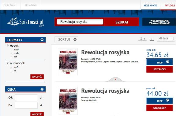 Strona wyników wyszukiwania w porównywarce cen e-booków Spistresci.pl