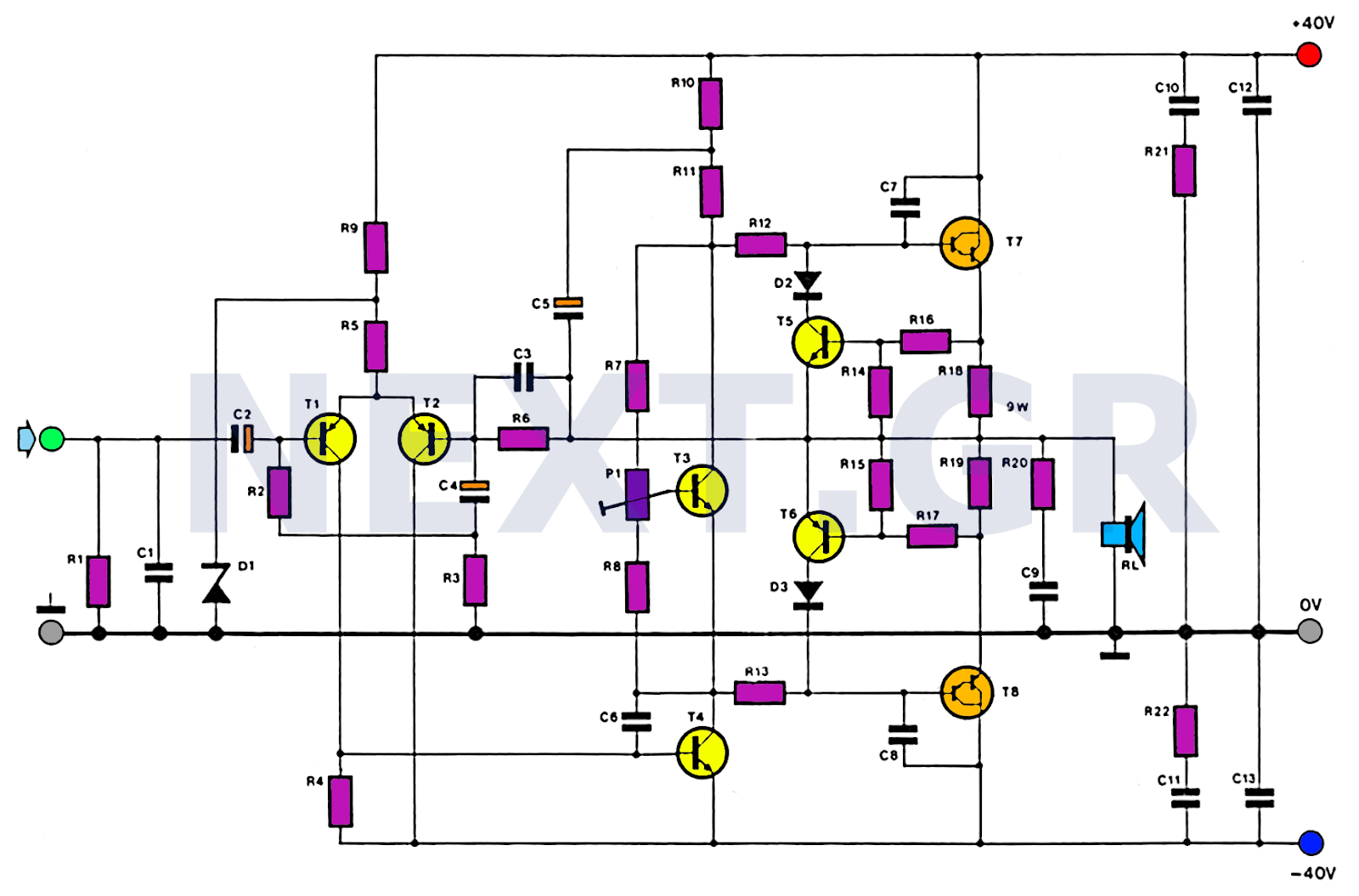 Simple 100w Amplifier Circuit Schematic Not Lossing Wiring Diagram Accelerometer Free Download Diagrams Pictures Hifi Audio Electronic Rh Streampowers Blogspot Com Schematics 12v