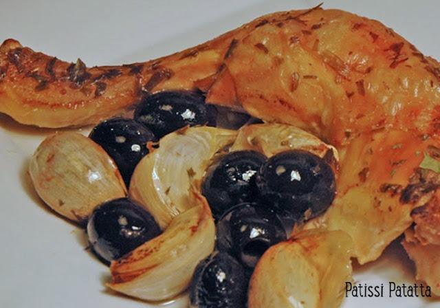 recette de poulet provençal, ail en chemise, olives noires, poulet simple à préparer, cuisiner des cuisses de poulet, plat familial au poulet