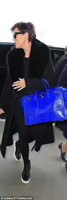 kris jenner hermes birkin blue 95k bag