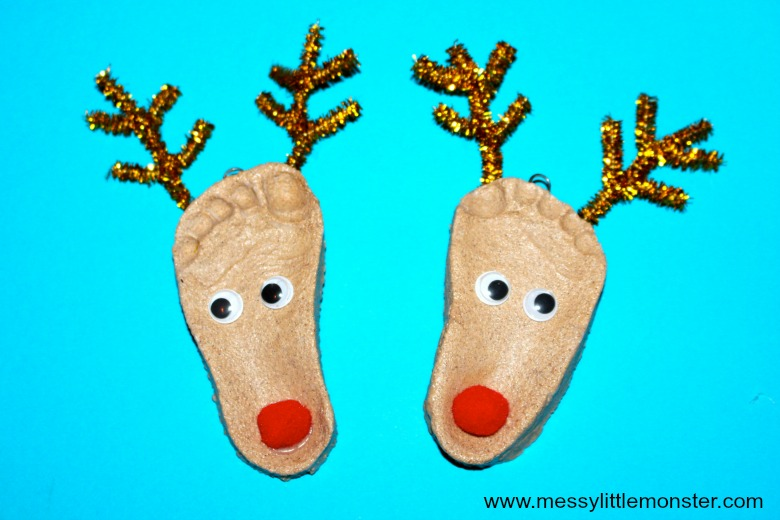 salt dough ornaments - footprint reindeer salt dough ornaments -reindeer craft