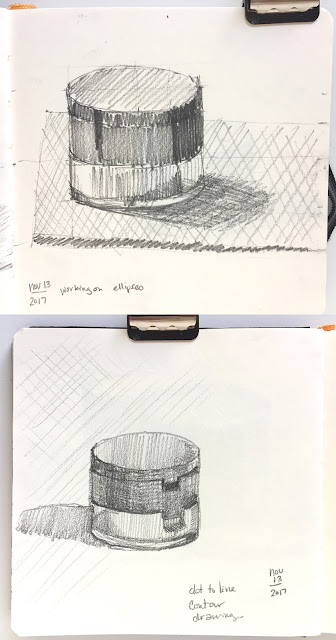 Daily Art 11-14-17 still life sketch in graphite - dot to line contour and seeing squares