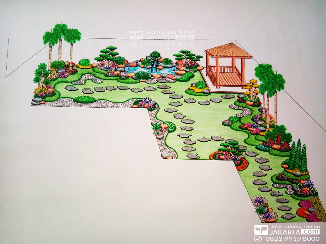 Desain Sketsa Taman di Jakarta