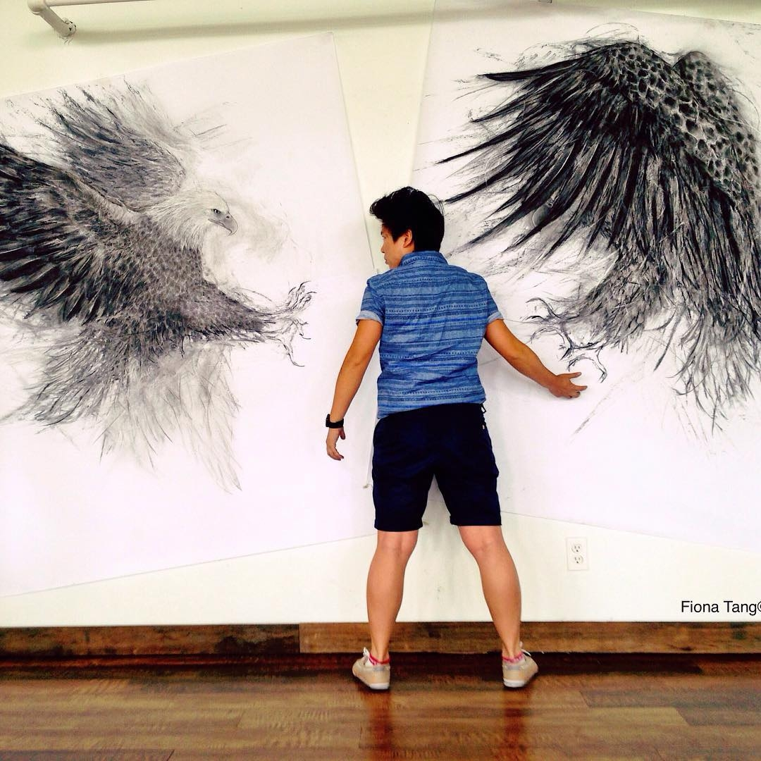 12-Eagles-Fiona-Tang-2D-Sketches-that-Become-3D-Animals-www-designstack-co