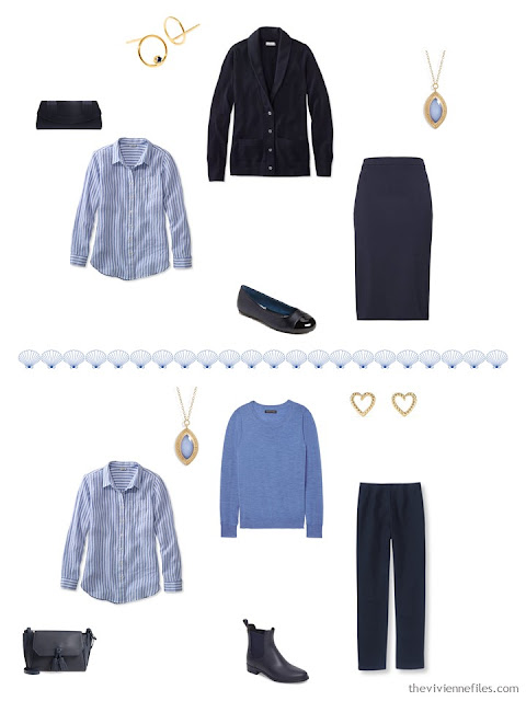 2 ways to wear a striped linen shirt from a 4 by 4 Travel Capsule Wardrobe