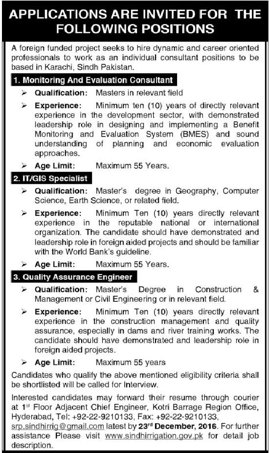 Monitoring & Evaluation Consultant Foreign Funded Project Jobs