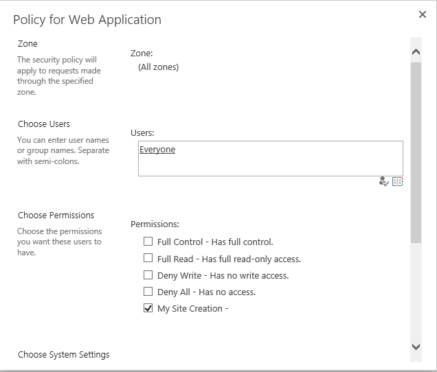 sharepoint 2013 my site creation