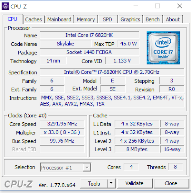 CPU-Z ASUS ROG G752VS