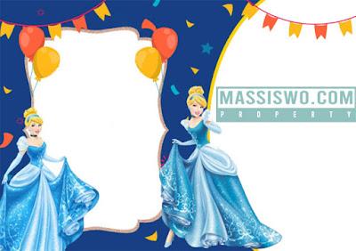 Template kartu undangan ulang tahun Cinderela