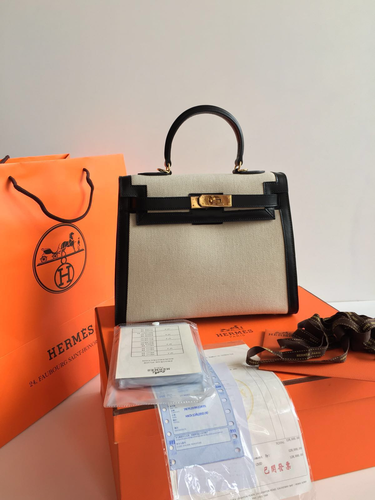 Kinda Kollection: Hermes Kelly 28Cm Canvas Combine Box Leather ...