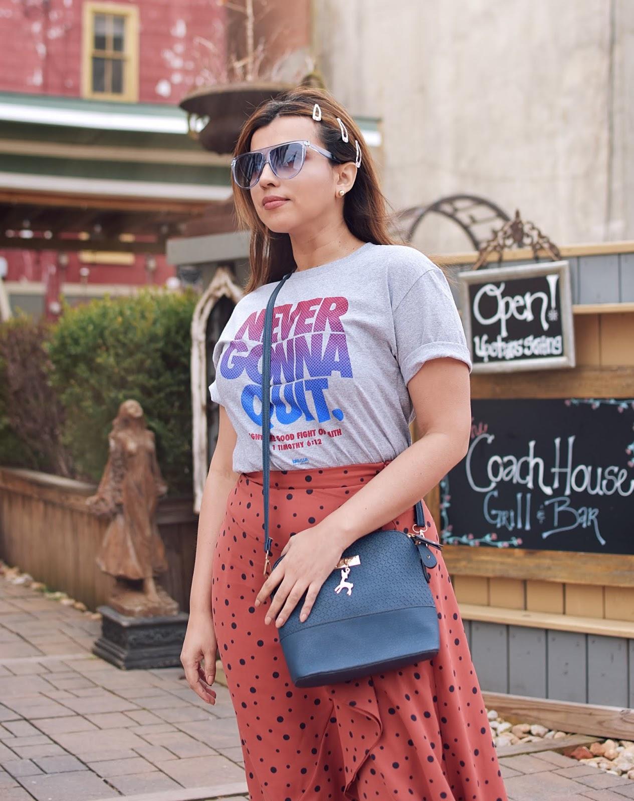 Asymmetrical Hem Polka Dot Print Skirt-MariEstilo-shein-fashionblogger-tendencias 2019-dcblogger-fashionista-streetstyle-travelblogger-westvirginia-harpers ferry-lookbook-