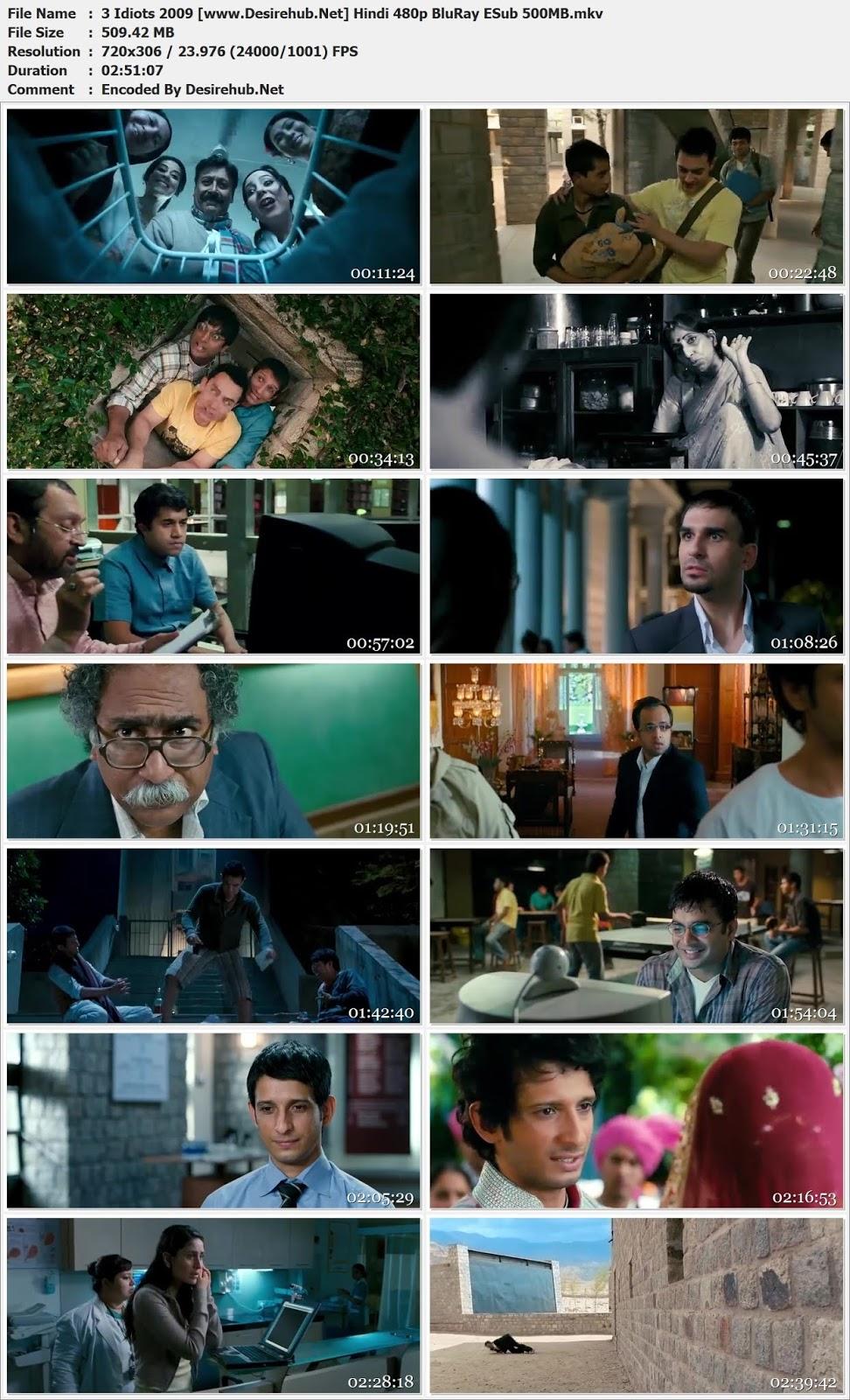 3 Idiots 2009 Hindi 480p BluRay ESub 500MB Desirehub