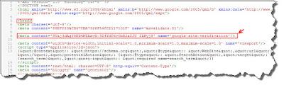 memasang verifikasi webmaster tool pada template blog