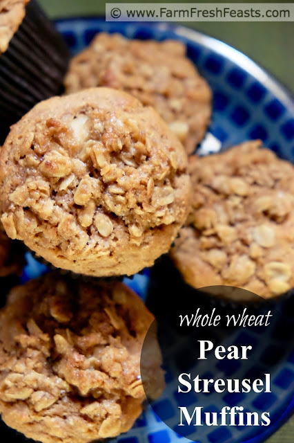 A buttery oatmeal streusel tops these whole wheat pear and pecan muffins. This recipe makes a wholesome treat.