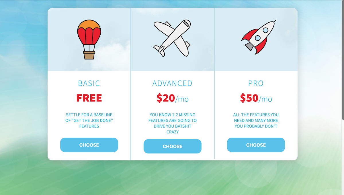 Animated Pricing Layout (hover over the graphic)