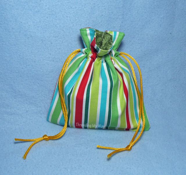 Reusable drawstring gift bags - easy to make and a great way to save on wrapping paper ~ Threading My Way