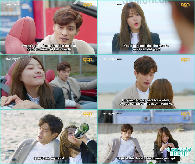 at  the beach jin wook and yoo mi drink together - My Secret Romance: Episode 1