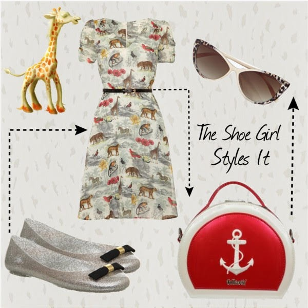 Polyvore outfit set of Free Fish glitter jelly shoes with safari print dress
