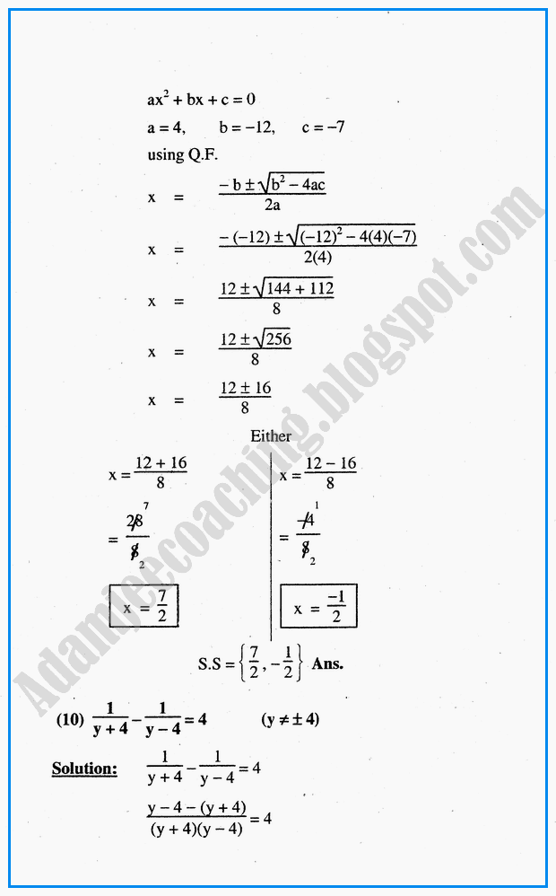 Adamjee Coaching Algebraic Sentences Exercise 6 6