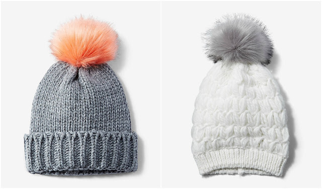 Express Pom Beanie in gray and white $11 (reg $25)