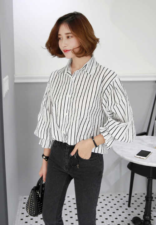 Striped Flounce Cuff Shirt