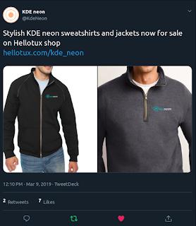 The @KDENeon Tweet Showing some stylish threads branding the KDENeon logo