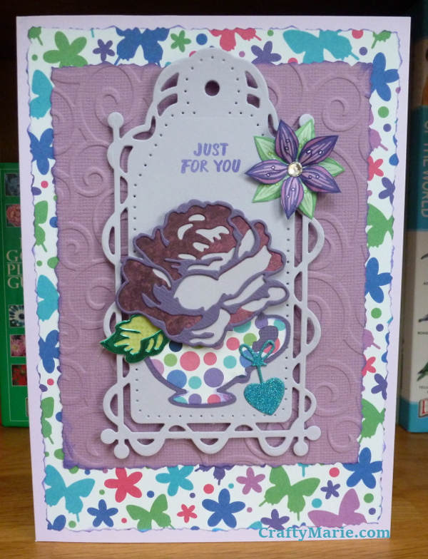 Embossed swirls handmade card with purples lilac colors and rose flower birthday theme Tonic Studios tag and altenew die