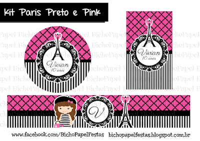 Kit Paris Preto e Pink