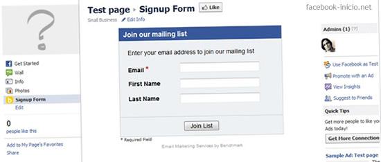 formularios en Facebook